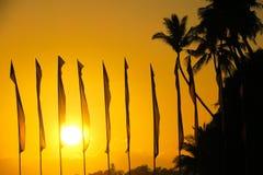 Bandiere che filtrano il tramonto dorato su Alona Beach, Panglao Fotografia Stock Libera da Diritti