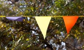 Bandiere colorate sull'autunno della natura Immagini Stock