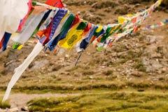 Bandiere colorate tibetane che fluttuano nel vento fotografia stock libera da diritti