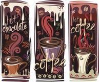 Bandiere con caffè Fotografie Stock