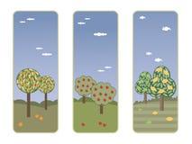Bandiere con gli alberi da frutto Immagini Stock