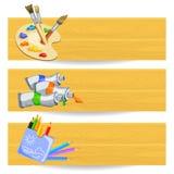 Bandiere con gli strumenti di illustrazione Immagini Stock