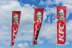 Bandiere con il logo della catena internazionale del resta di approvvigionamento Fotografia Stock Libera da Diritti
