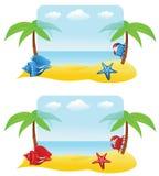 Bandiere con la palma, granchio Fotografia Stock