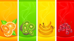 Bandiere con la piccola frutta Fotografie Stock