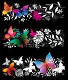 Bandiere con le farfalle Immagine Stock