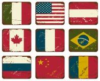 Bandiere d'annata del metallo Fotografia Stock