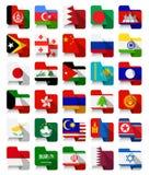 Bandiere d'ondeggiamento asiatiche di progettazione piana Fotografia Stock Libera da Diritti