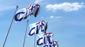 Bandiere d'ondeggiamento con il logo di Citi contro il cielo, ciclo senza cuciture animazione dell'editoriale 4K video d archivio
