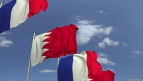 Bandiere d'ondeggiamento del Bahrain e della Francia, animazione loopable 3D stock footage