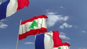 Bandiere d'ondeggiamento del Libano e della Francia sul fondo del cielo, animazione loopable 3D stock footage