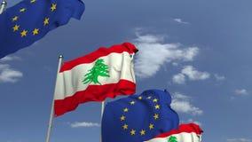 Bandiere d'ondeggiamento del Libano e l'UE sul fondo del cielo, animazione loopable 3D archivi video
