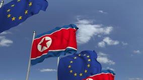 Bandiere d'ondeggiamento del Nord Corea e l'Unione Europea UE, animazione loopable 3D archivi video