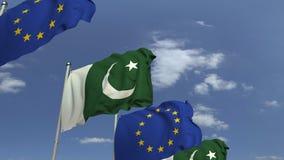 Bandiere d'ondeggiamento del Pakistan e dell'Unione Europea UE, animazione loopable 3D archivi video