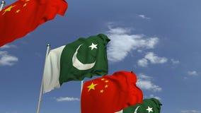 Bandiere d'ondeggiamento del Pakistan e della Cina, animazione loopable 3D archivi video
