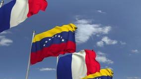 Bandiere d'ondeggiamento del Venezuela e della Francia sul fondo del cielo, animazione loopable 3D video d archivio