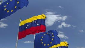 Bandiere d'ondeggiamento del Venezuela e l'UE sul fondo del cielo, animazione loopable 3D archivi video
