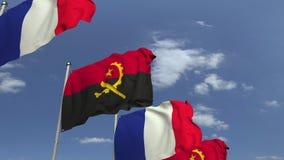 Bandiere d'ondeggiamento dell'Angola e della Francia, animazione loopable 3D stock footage