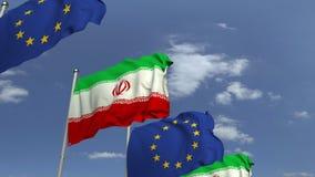 Bandiere d'ondeggiamento dell'Iran e l'UE sul fondo del cielo, animazione loopable 3D video d archivio