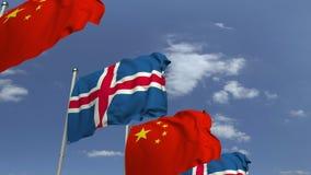 Bandiere d'ondeggiamento dell'Islanda e della Cina, animazione loopable 3D video d archivio