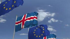 Bandiere d'ondeggiamento dell'Islanda e dell'Unione Europea UE, animazione loopable 3D video d archivio