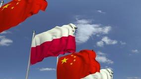 Bandiere d'ondeggiamento della Polonia e della Cina, animazione loopable 3D video d archivio
