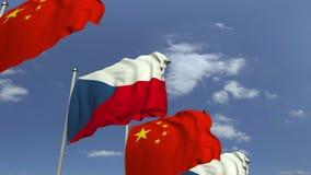 Bandiere d'ondeggiamento della repubblica Ceca e della Cina, animazione loopable 3D stock footage