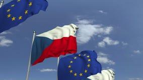 Bandiere d'ondeggiamento della repubblica Ceca e dell'Unione Europea UE, animazione loopable 3D archivi video