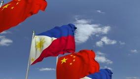 Bandiere d'ondeggiamento di Filippine e della Cina, animazione loopable 3D stock footage