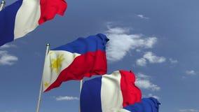 Bandiere d'ondeggiamento di Filippine e della Francia, animazione loopable 3D video d archivio