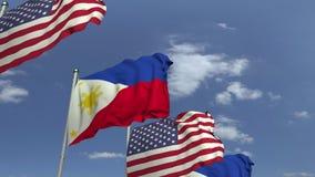 Bandiere d'ondeggiamento di Filippine e di U.S.A., animazione loopable 3D archivi video