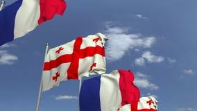 Bandiere d'ondeggiamento di Georgia e della Francia, animazione loopable 3D video d archivio