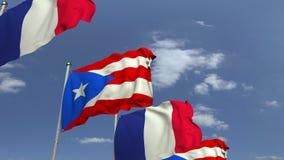 Bandiere d'ondeggiamento di Puerto Rico e della Francia, animazione loopable 3D archivi video
