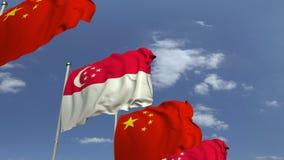 Bandiere d'ondeggiamento di Singapore e della Cina, animazione loopable 3D archivi video