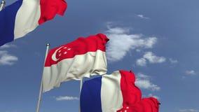 Bandiere d'ondeggiamento di Singapore e della Francia, animazione loopable 3D stock footage