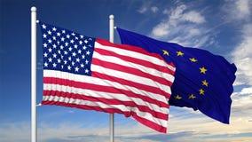 Bandiere d'ondeggiamento di U.S.A. e dell'UE sull'asta della bandiera Fotografie Stock Libere da Diritti