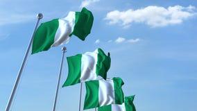 Bandiere d'ondeggiamento multiple della Nigeria contro il cielo blu stock footage