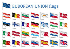 Bandiere d'ondeggiamento stabilite dell'UE Immagini Stock Libere da Diritti