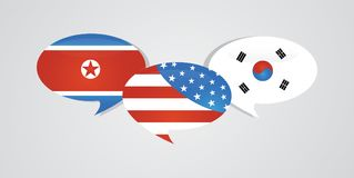 Bandiere degli Stati Uniti America, di sud e della Corea del Nord sul fumetto lucido Relazioni della Corea, strategia di cooperaz illustrazione di stock