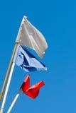 Bandiere dei colori differenti sui precedenti di cielo blu Fotografia Stock Libera da Diritti