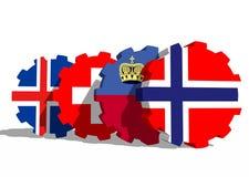 Bandiere dei membri di economie di associazione europea di libero scambio sugli ingranaggi Fotografia Stock