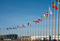 Bandiere dei paese-partecipanti dei giochi di olimpiade invernale Fotografie Stock