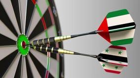 Bandiere dei UAE e della Siria sui dardi che colpiscono centro dell'obiettivo Cooperazione internazionale o concorrenza concettua illustrazione vettoriale