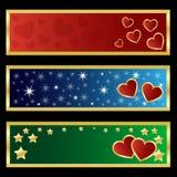 Bandiere del biglietto di S. Valentino Immagine Stock