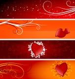 Bandiere del biglietto di S. Valentino Fotografie Stock