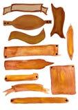 Bandiere del Brown verniciate in acquerello Fotografie Stock