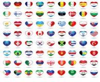 Bandiere del cuore Fotografia Stock
