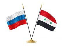 Bandiere del desktop dell'Unione Europea e della Russia illustrazione 3D Immagini Stock Libere da Diritti