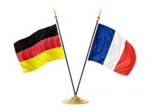 Bandiere del desktop dell'Unione Europea e della Russia illustrazione 3D Immagini Stock