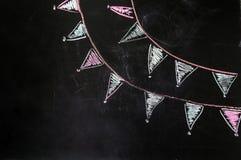 Bandiere del gesso di disegno sui precedenti neri Fotografie Stock